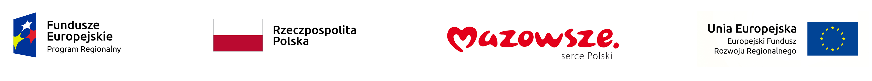 Logotypy projektu - Fundusze Europejskie, Rzeczpospolita Polska, Mazowsze, Unia Europejska